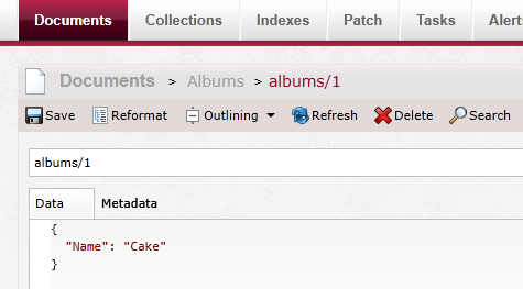 Figure 16: Verify that document `albums/1` has been replicated with new content
