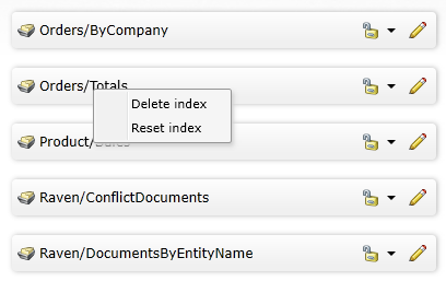 Figure 1: Reset and delete index options in the studio