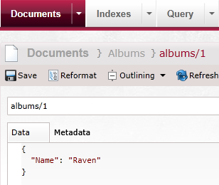 Figure 14: Create `albums/1` document