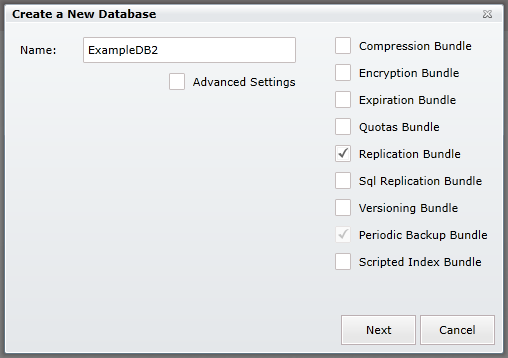 Figure 4: Create `ExampleDB2` database with `Replication bundle` enabled