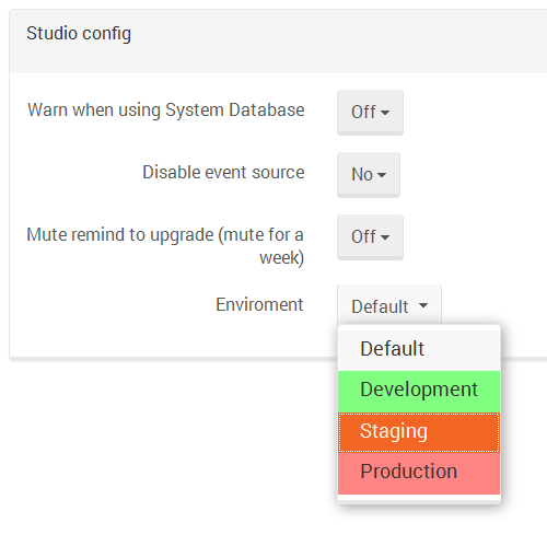 Figure 1. Manage Your Server. Studio Config.