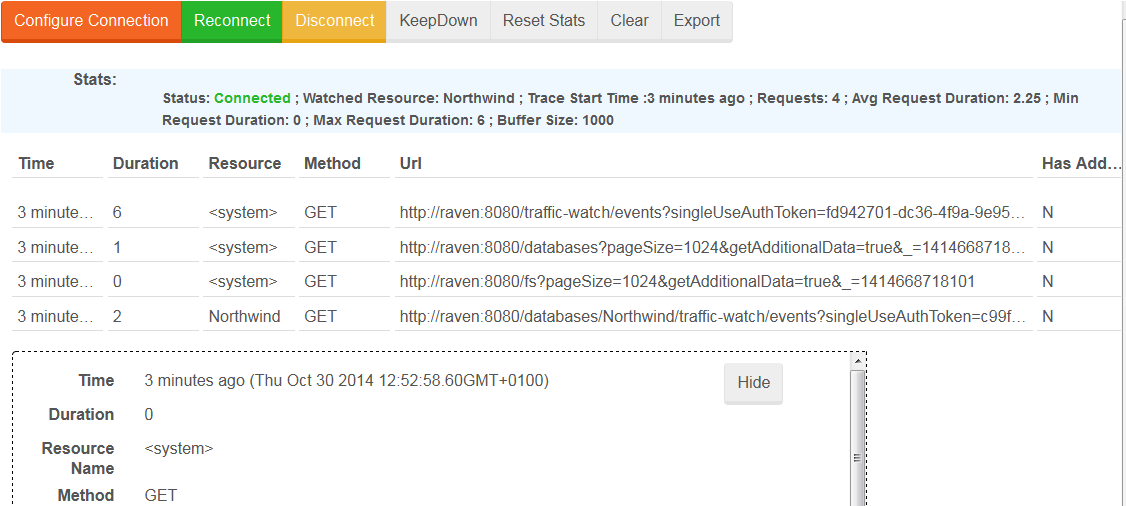 Figure 2. Manage Your Server. Traffic Watch. Log Entries