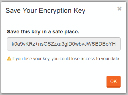 Figure 2. Studio. Encryption. Save Encryption Key.