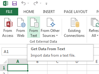 Importing data from text in Excel