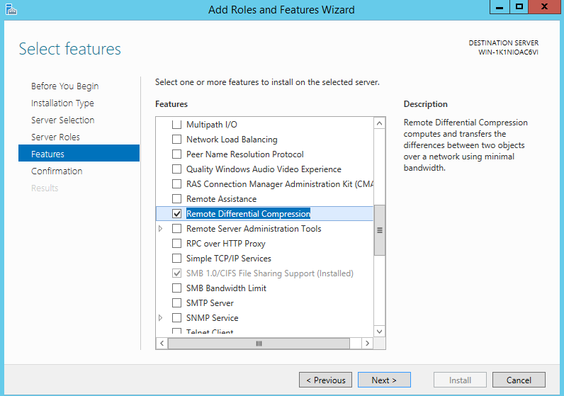 Figure 1: Enabling RDC on Windows Server 2012