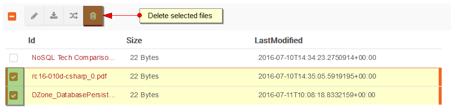Figure 8. Studio. Files View. Delete a file