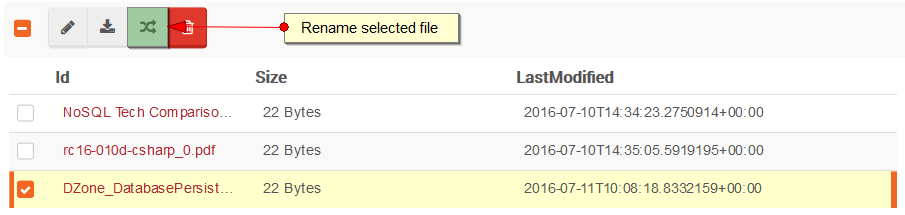 Figure 10. Studio. Files View. Rename a file