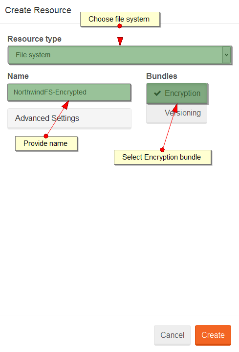 Figure 1. Studio. Encryption. Create file system.