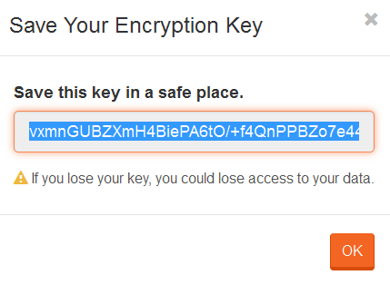 Figure 3. Studio. Encryption. Save Encryption Key.