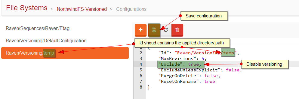 Figure 5. Studio. Versioning. Custom configuration. Save.