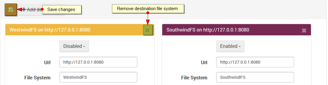 Figure 3. Studio. Destinations view. Remove destination