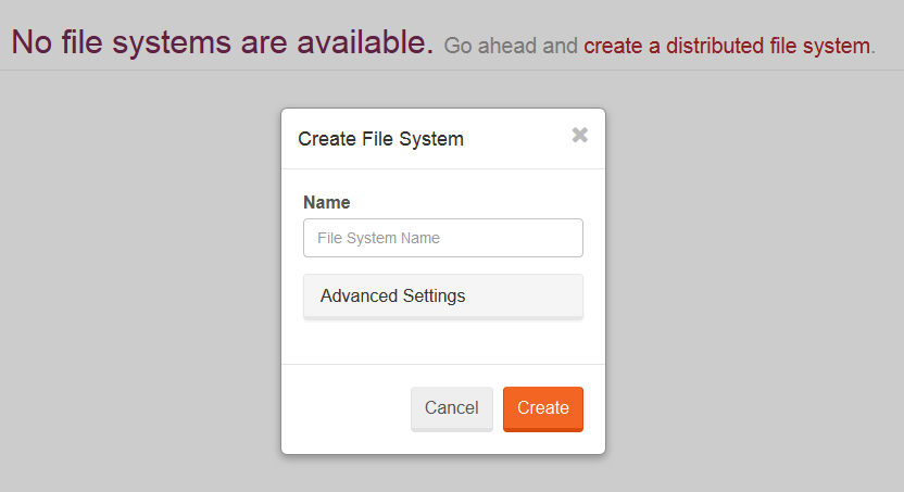 Figure 2: Create a file system