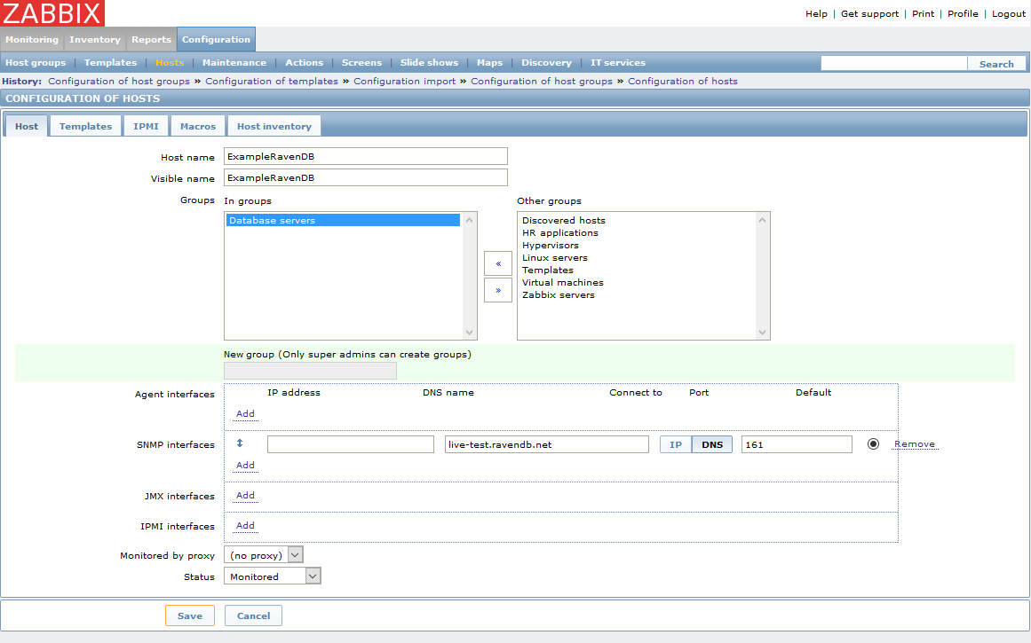 Figure 2. Monitoring : How to setup Zabbix monitoring: Add host