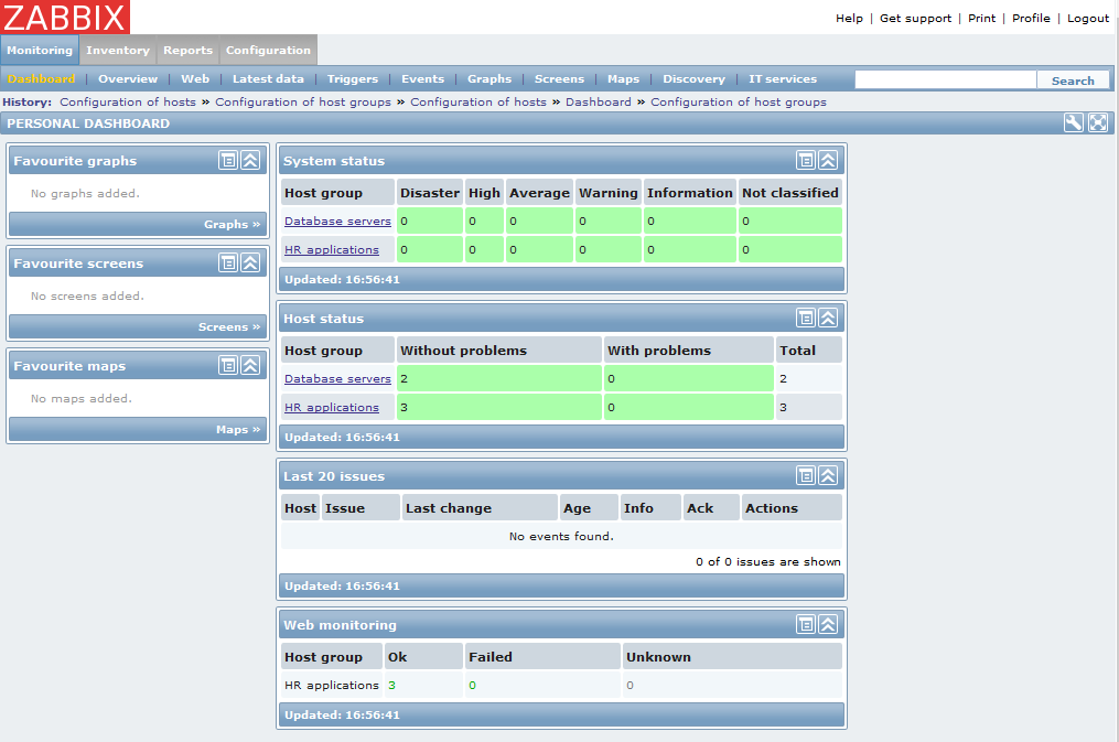 Figure 1. Monitoring : How to setup Zabbix monitoring: Dashboard