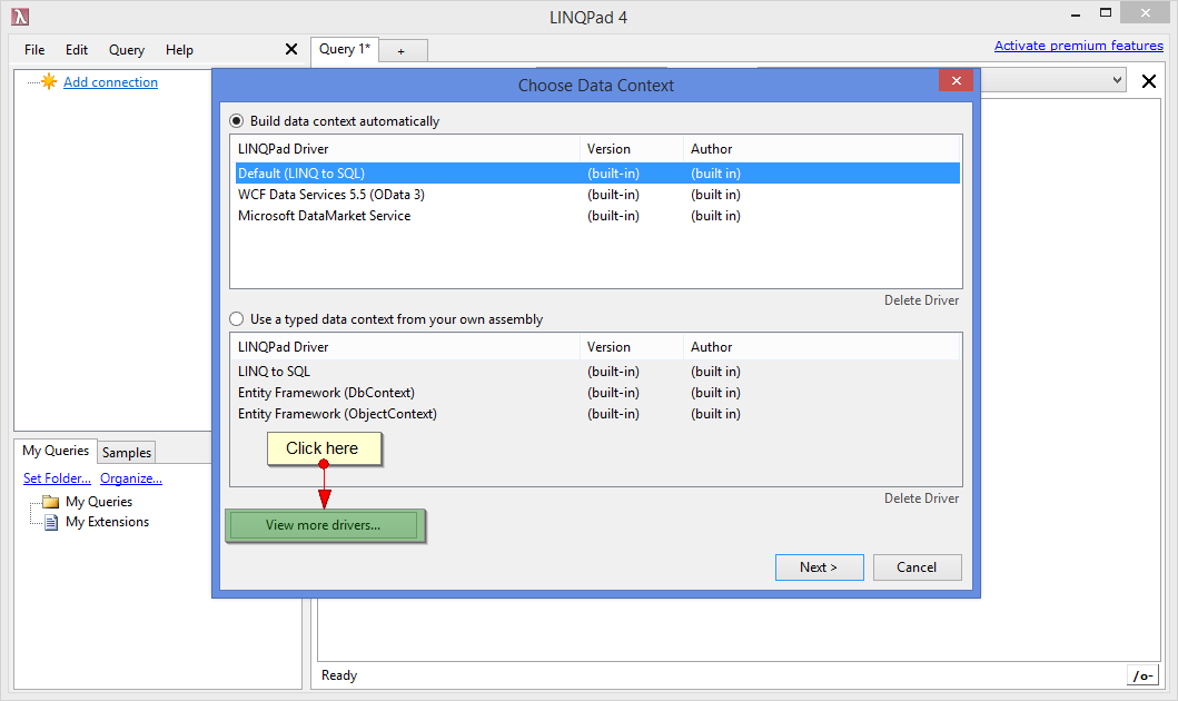 Figure 2. Getting started. Playground Server. LINQPad. Installation. Step 2.