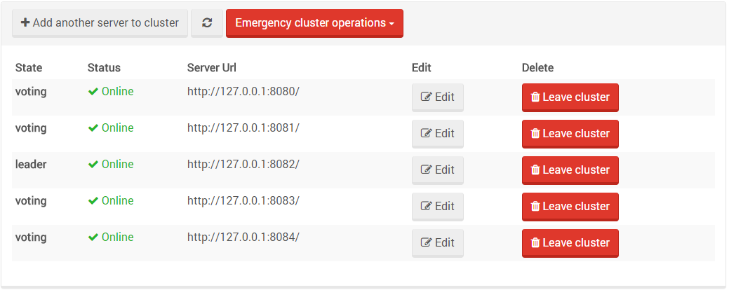 Figure 5. Studio. Manage Your Server. Five Node Cluster.