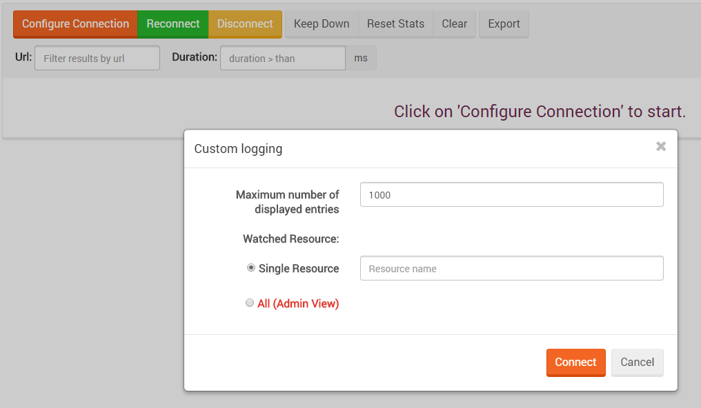 Figure 2. Manage Your Server. Traffic Watch. Configure Connection