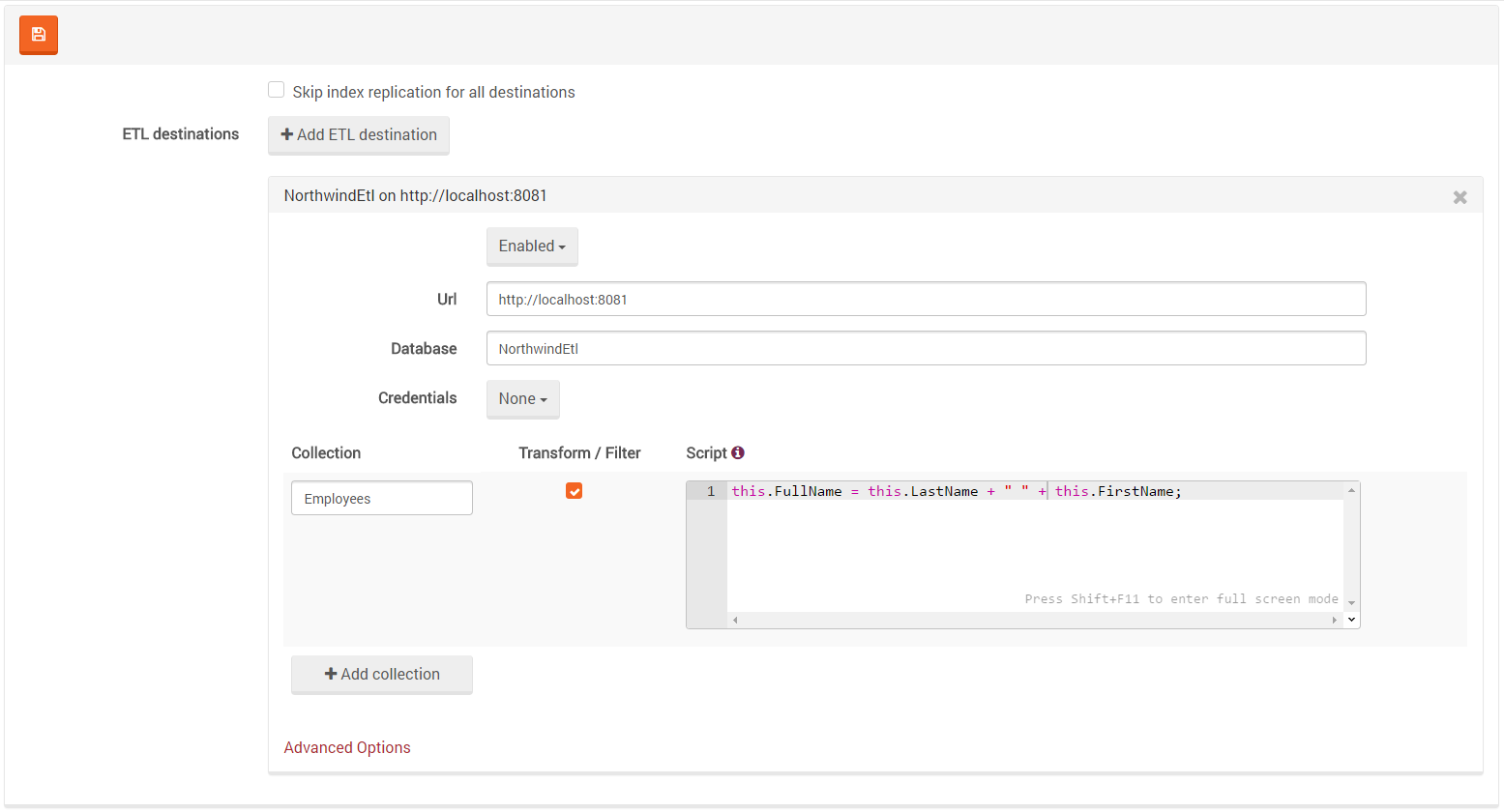 Figure 4. Settings. ETL. Defining Transformation and Filtering scripts.