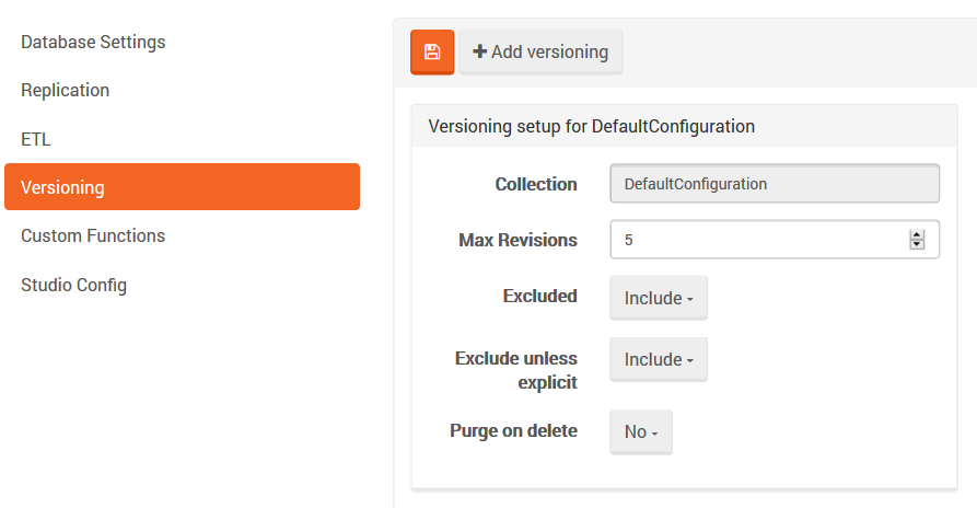 Figure 1. Settings. Versioning setup.