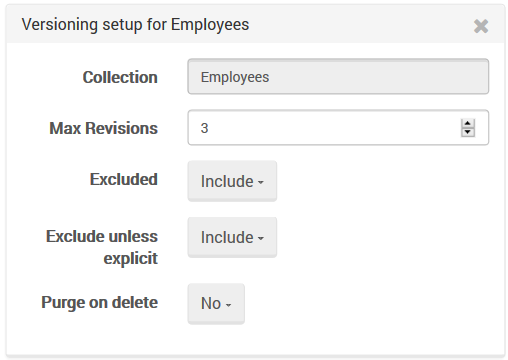 Figure 2. Settings. Versioning setup.
