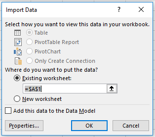Select where to put the data