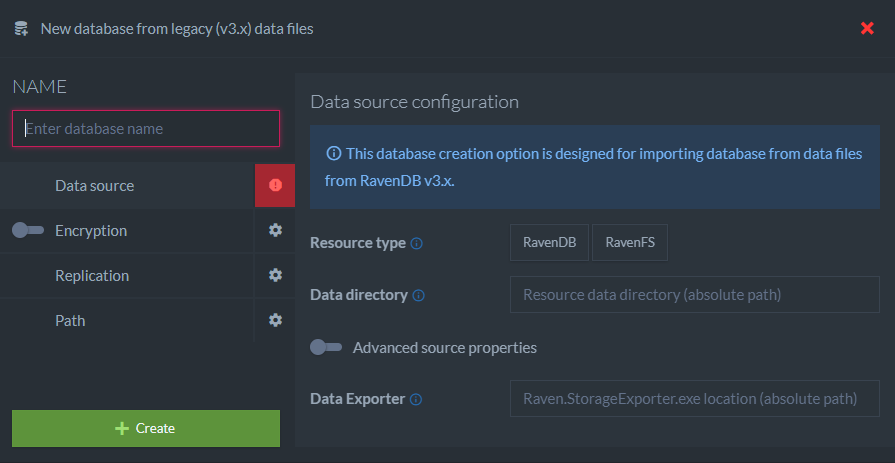Figure 2. Create new database from 3.x data - dialog