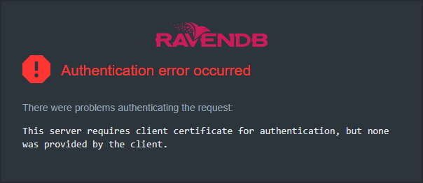 Figure 1. Authentication Error