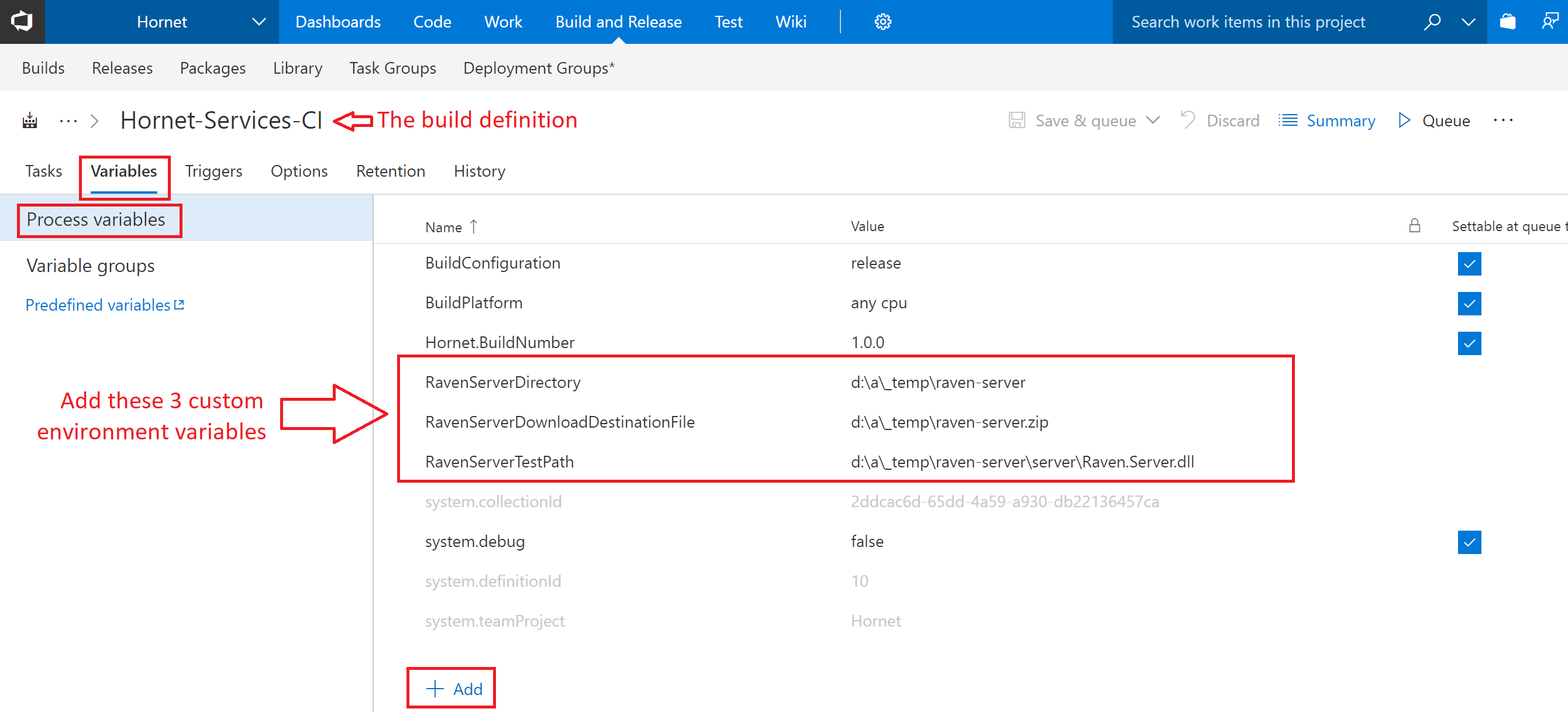 VSTS Global Environment Variables