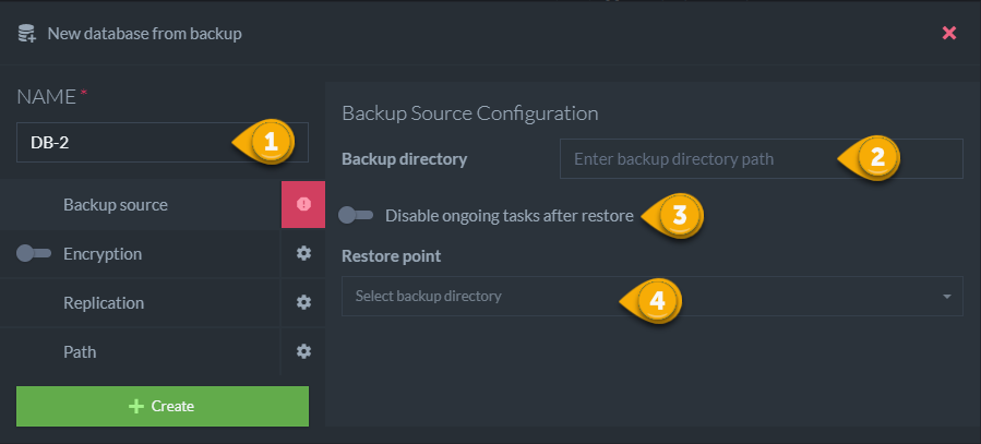 Figure 2. Backup Source Configuration