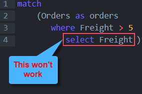 SELECT cannot be used in Node Clauses